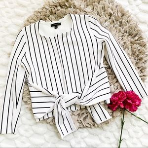Ann Taylor White Stripe Tie Front Sweater